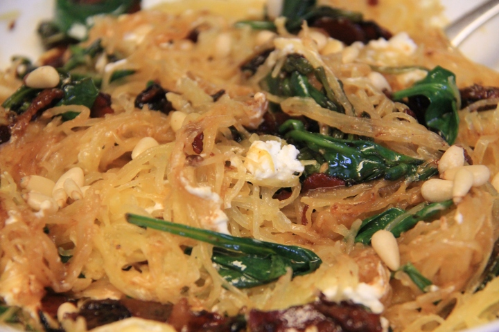 Supergreen Spaghetti Squash with Pancetta, Shallot, and Goat Cheese